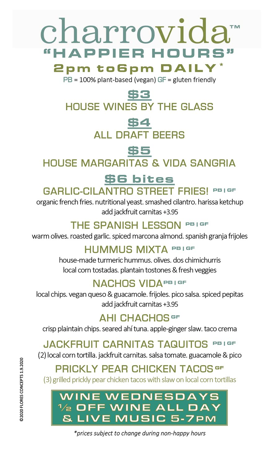Charro Happy Hour Menu